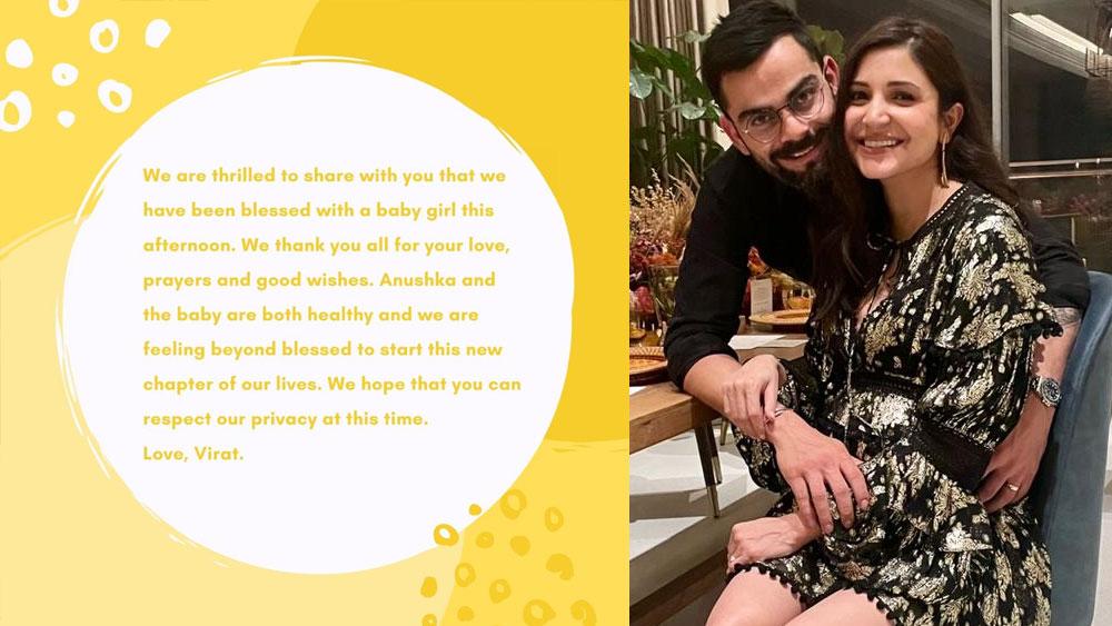 Actress Anushka Sharma and Cricketer Virat Kohli Welcome Their Baby Girl